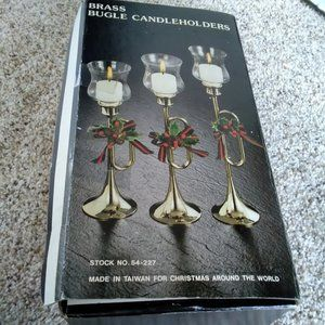 VTG Brass Bugle Horn Candle Holders w/Glass Cups